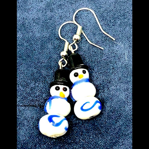 Snowman Earrings with Glass Pearls Silver Toned Hat and Ear Wires